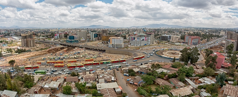 Aerial view of the city of Addis Ababa, showing the densely packed houses